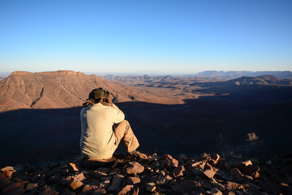 Vista desde la meseta de Grootberg en Damaraland, Namibia