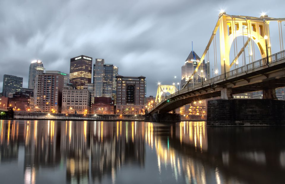 Pittsburgh at dusk, reflected in the Allegheny River