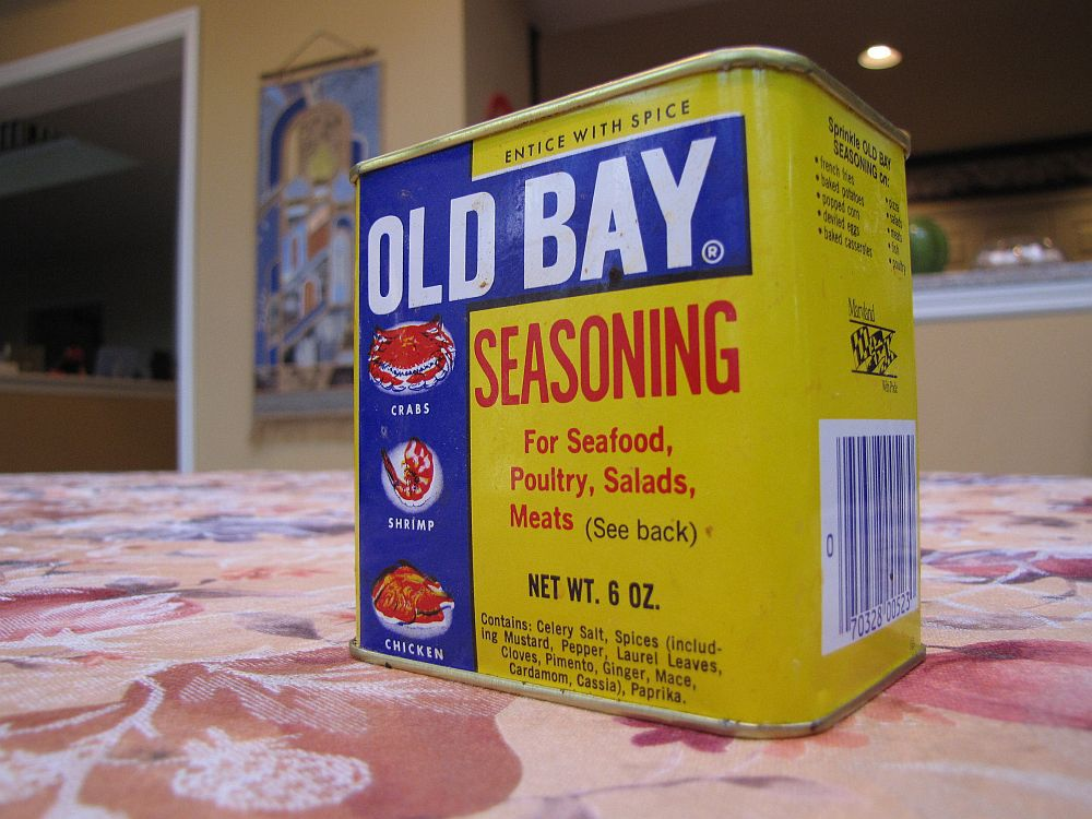 Tin of Old Bay on a table