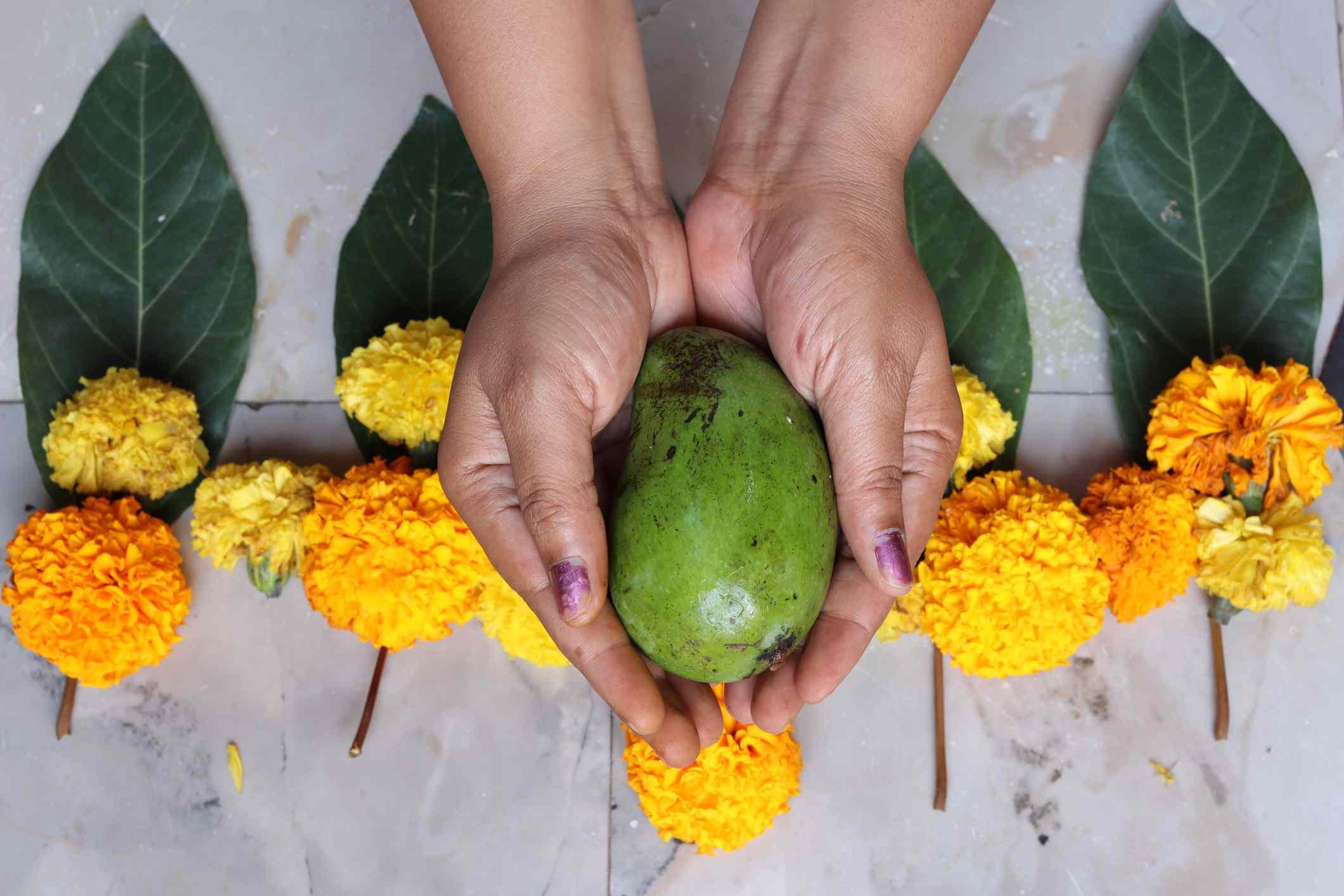 Marigold Flower rangoli Design for Ugadi Festival