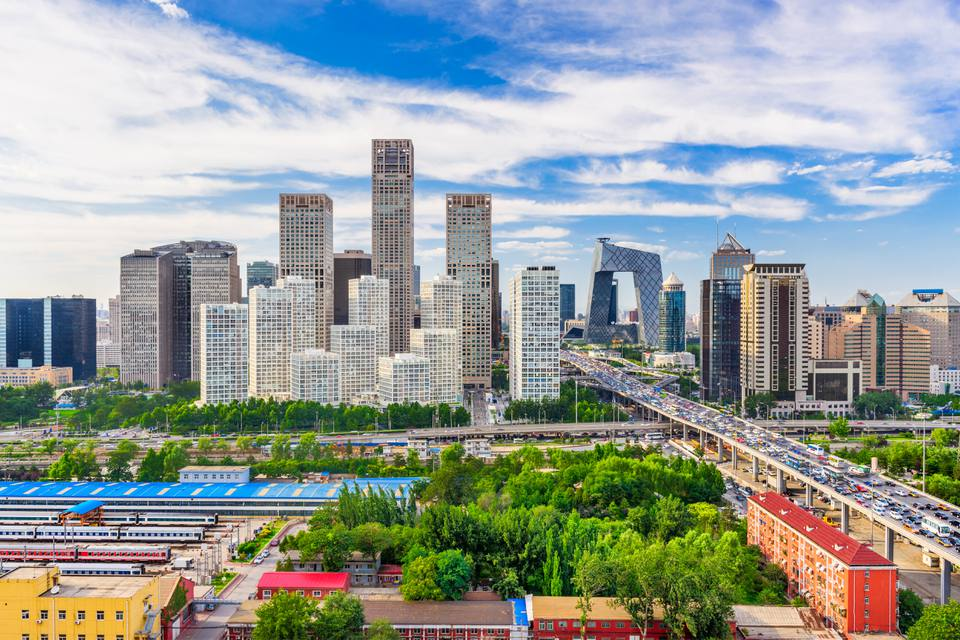 Horizonte de Beijing en agosto