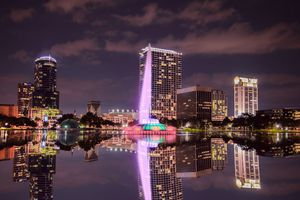 Lake Eola view by night in Orlando Florida
