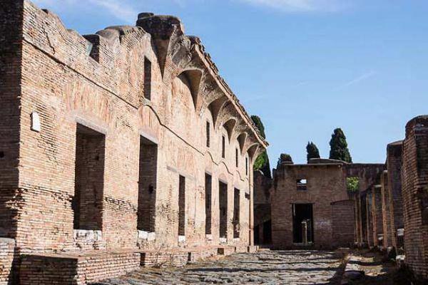A well-preserved street in Ostia Antica