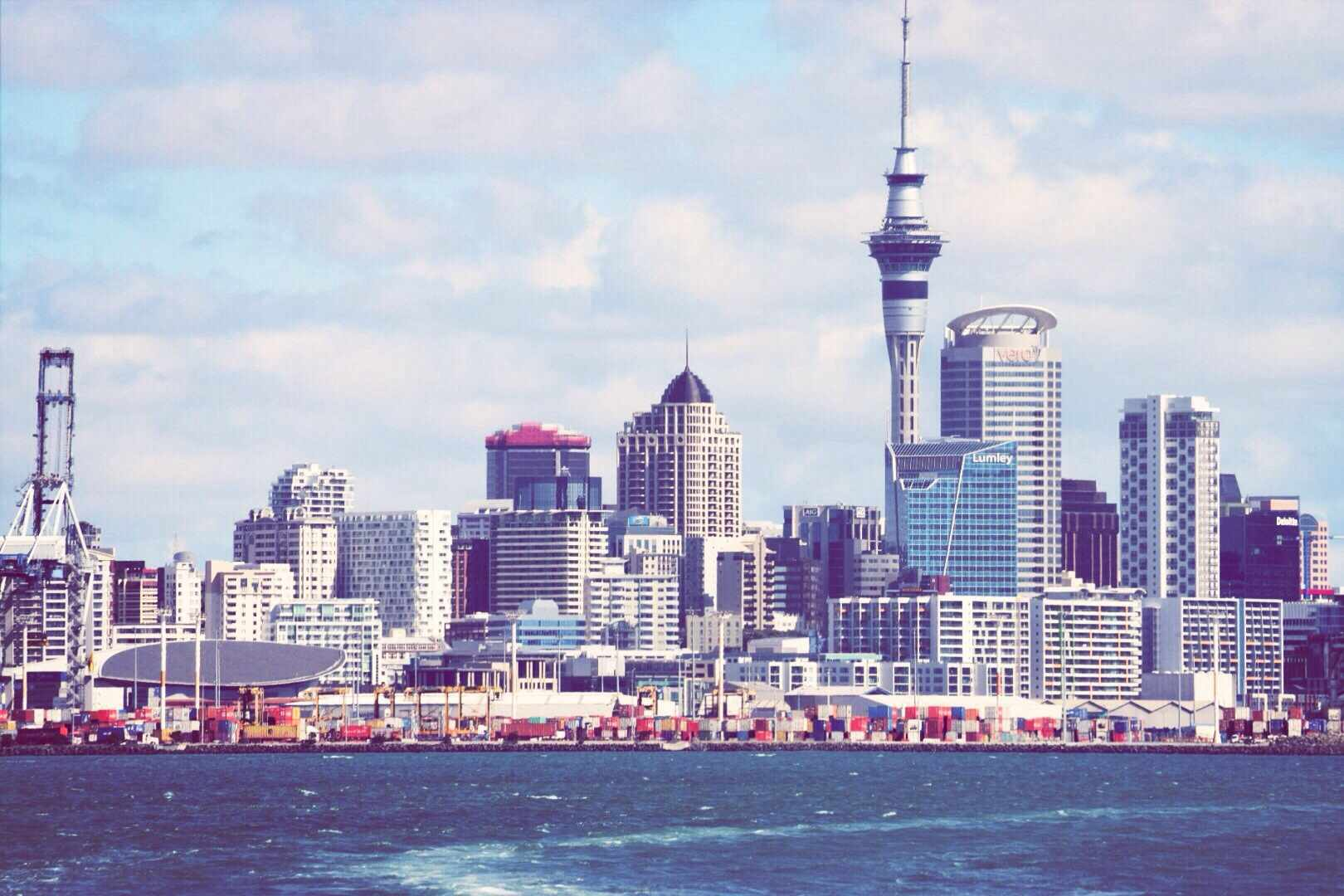 Auckland city skyline with tall buildings and pointed Skytower