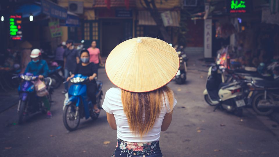 young asian women visiting Hanoi in North Vietnam , Asia