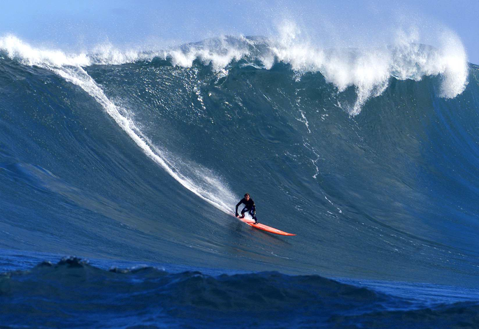 Paul Paterson of Australia catches a five metre wave at Dungeons
