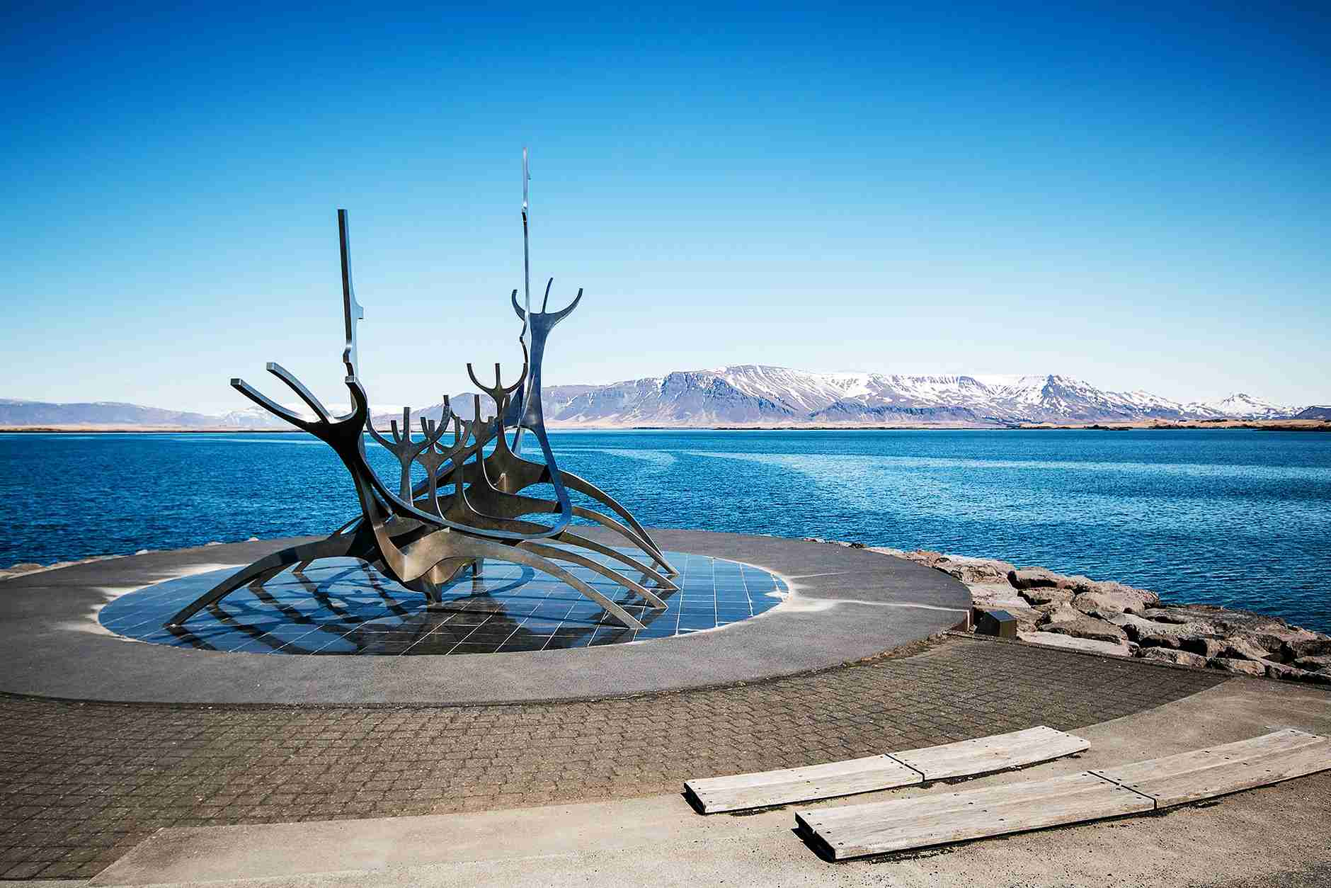 The Sun Voyager statue on the Reykjavik waterfront