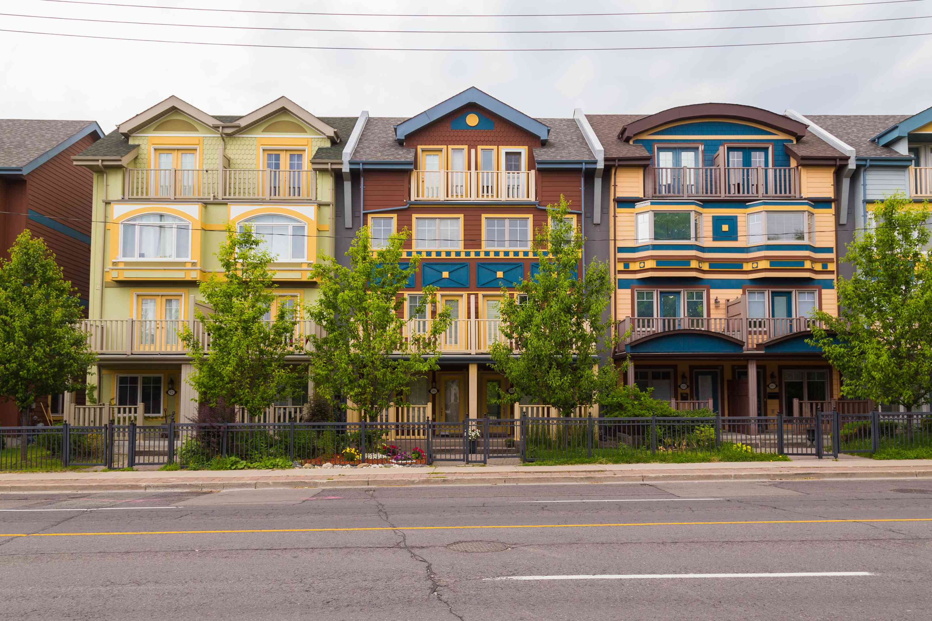 Different colored houses in The Beaches area of Toronto