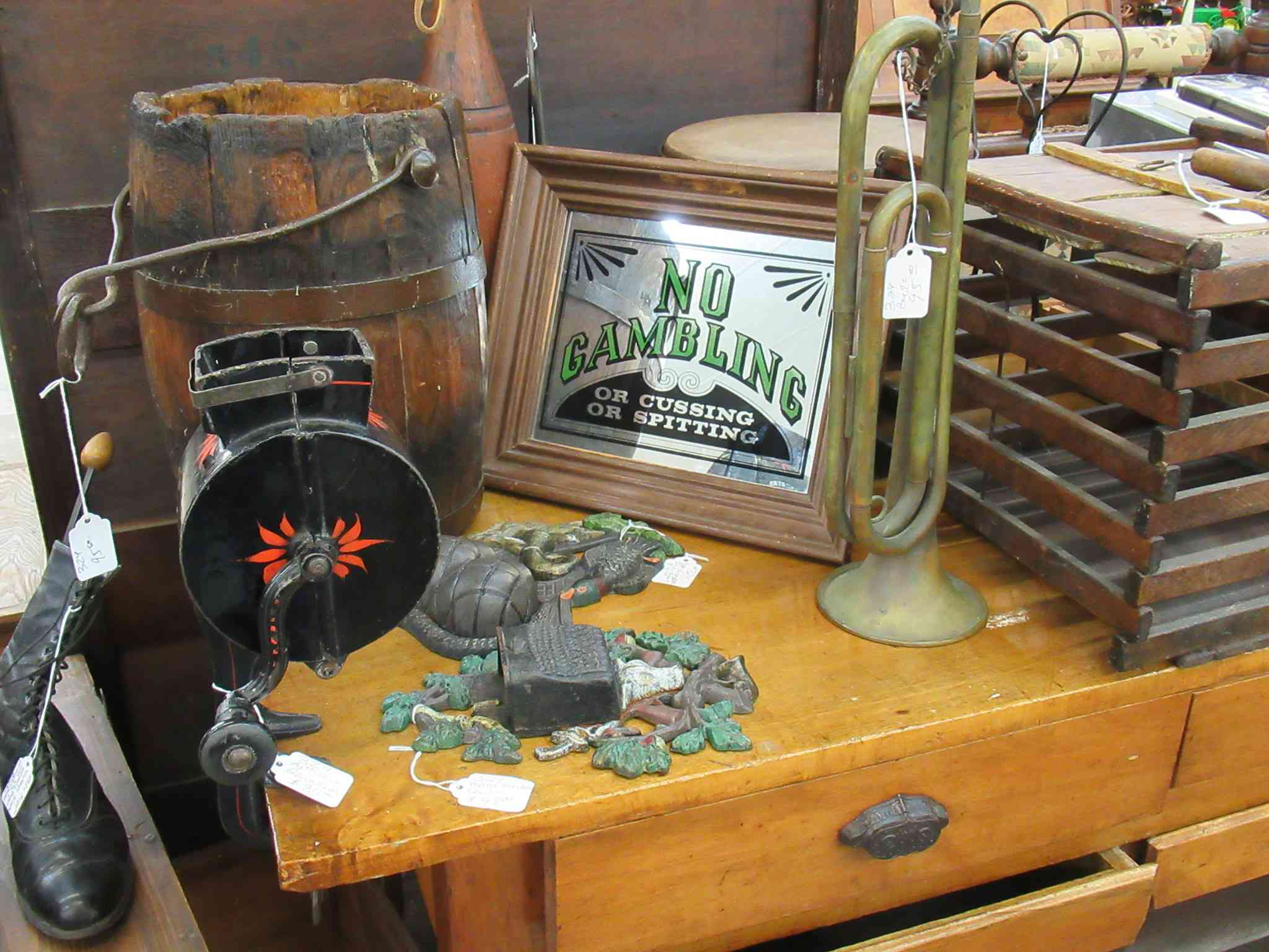Random antiques on a table