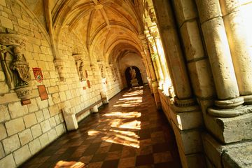 Cloistered passage in Miami's ancient Spanish monastery.