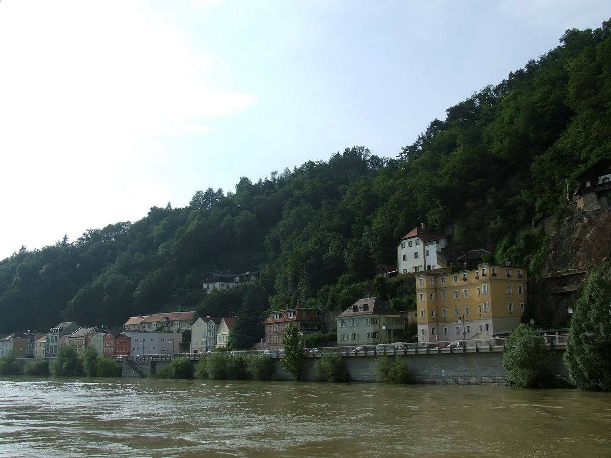 Sailing through Passau, Germany on the flooded Danube River
