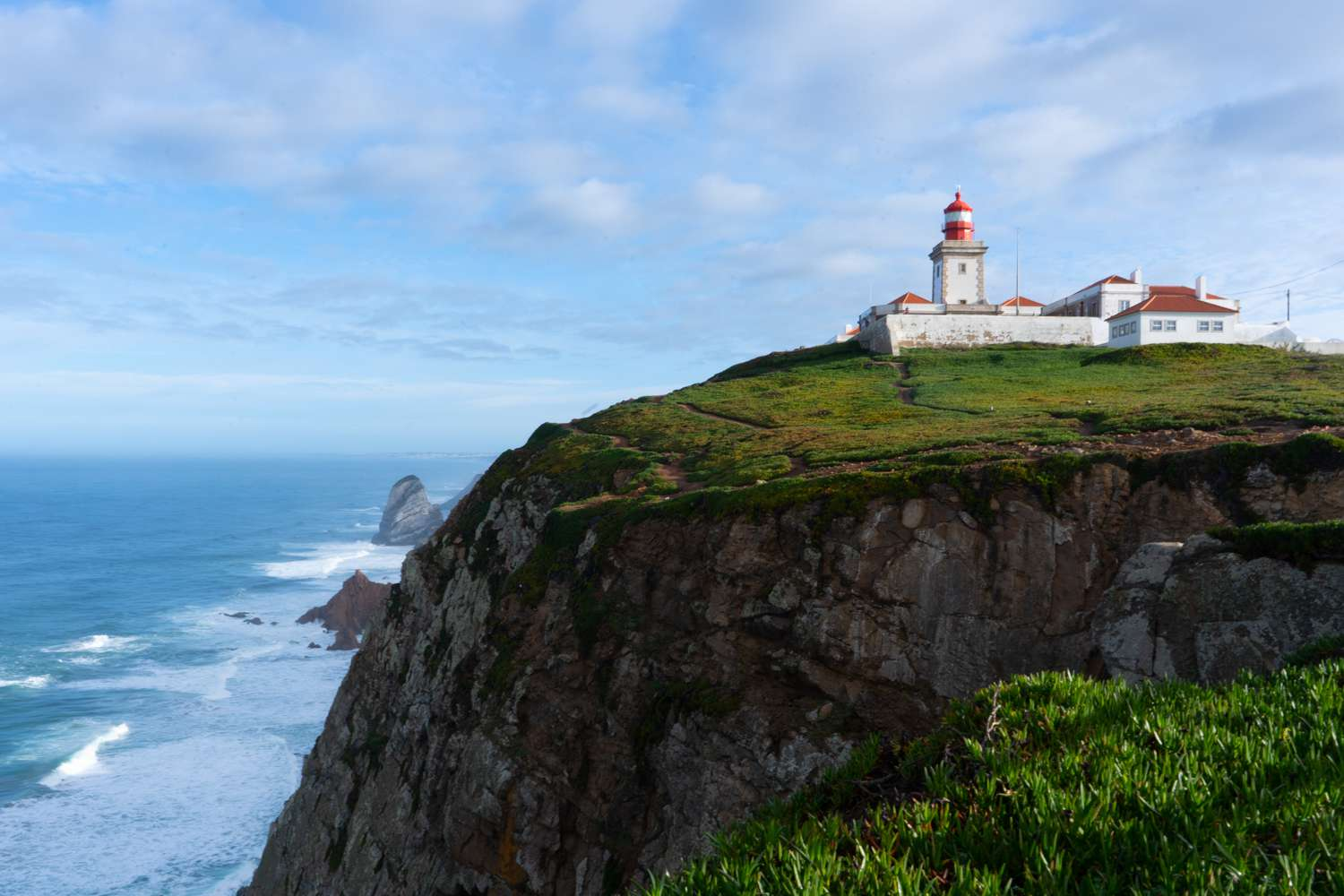 Wide shot of the lighthouse at Cape Roca