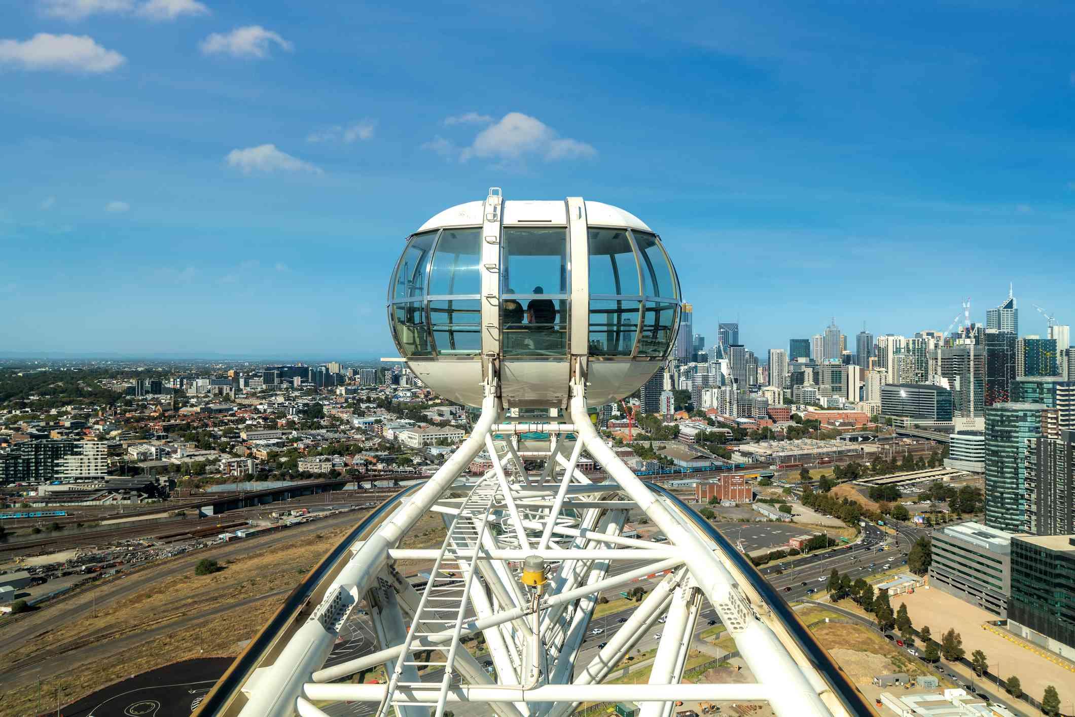 Observation ferris wheel in Docklands district in Melbourne, Australia.