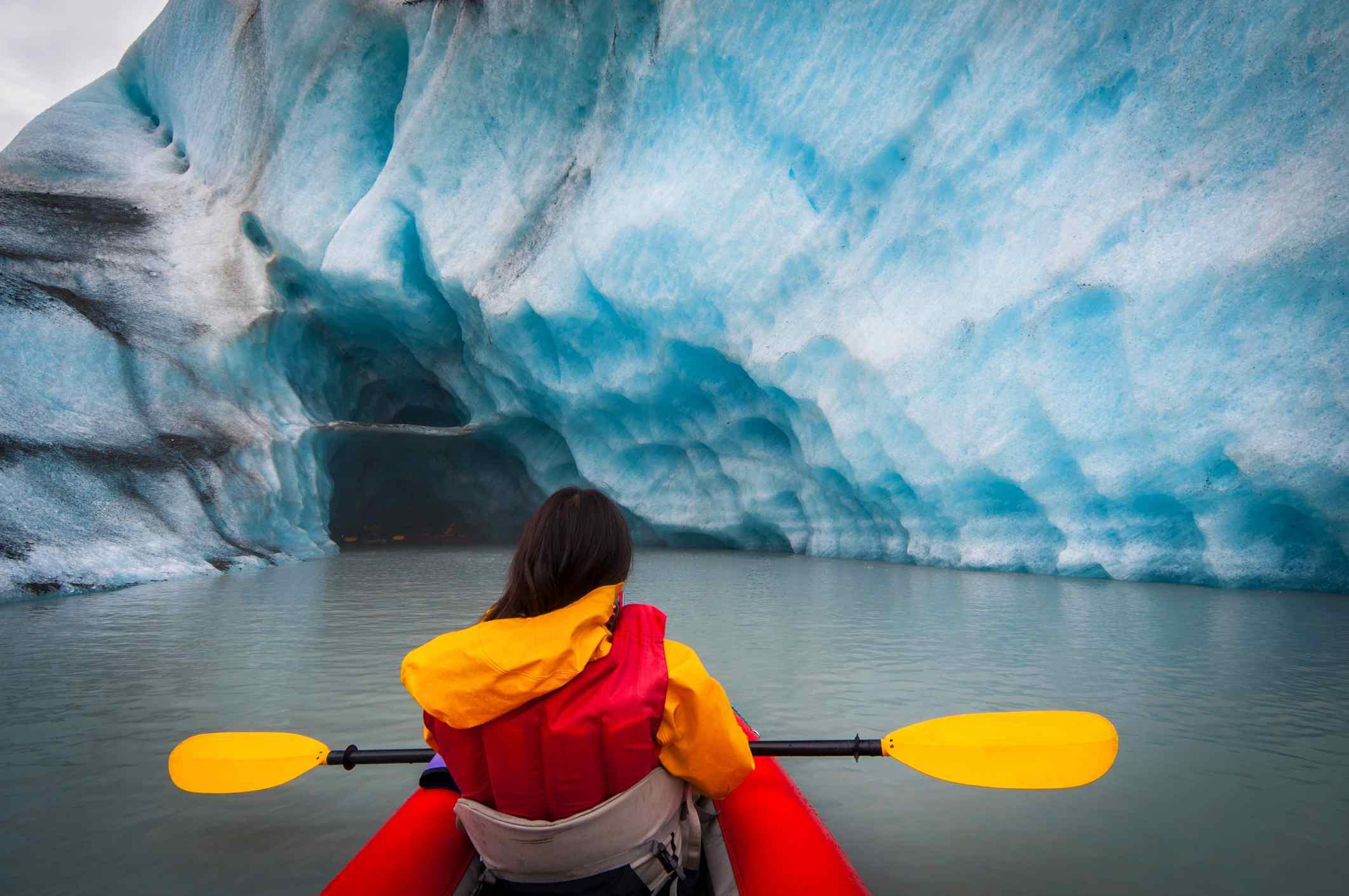 Kayaking expedition around Arctic glaciers in Alaska, United States