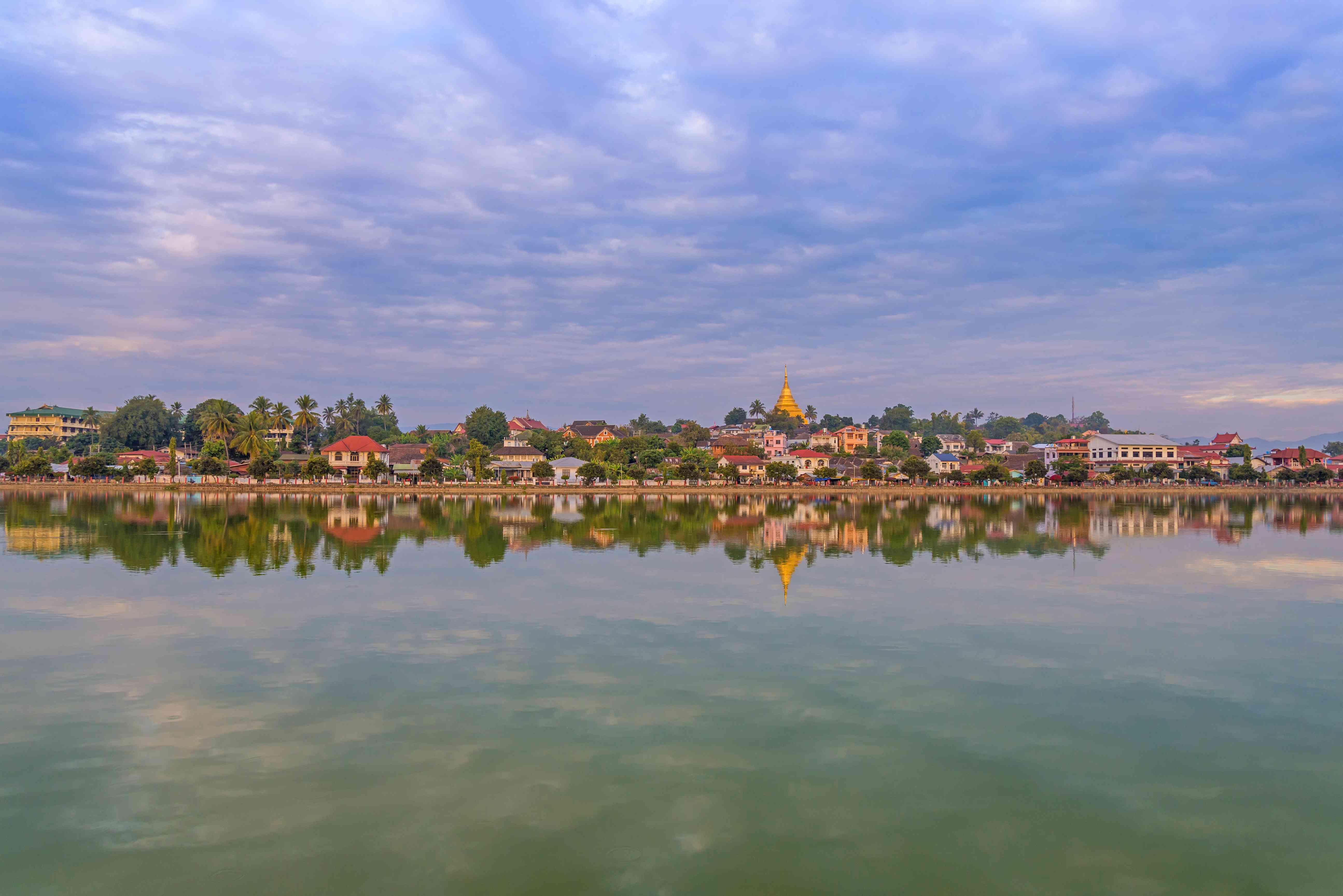 river of Mandalay cityscape in Kyaing tong at Myanmar