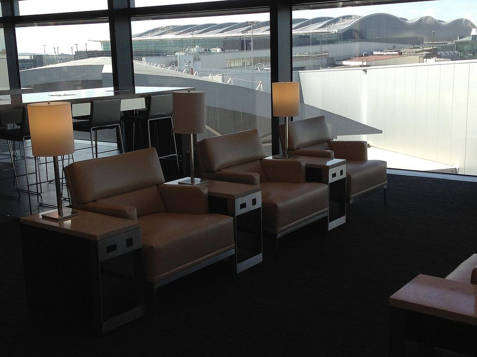 A seating area at the United Club in London Heathrow Airport