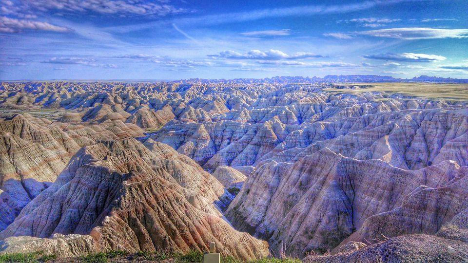Vista panorámica de Badlands en capas
