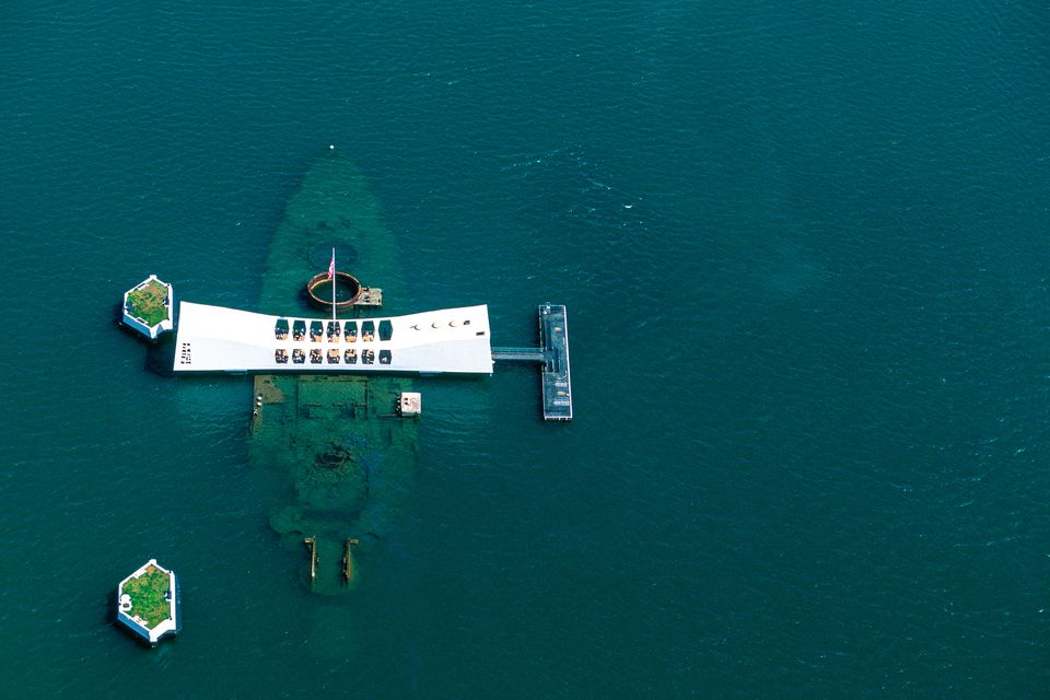 The USS Arizona Memorial in Hawaii.