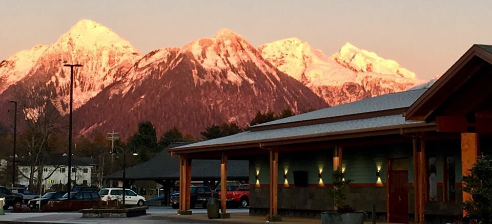 Outside the Sitka History Museum at sunset