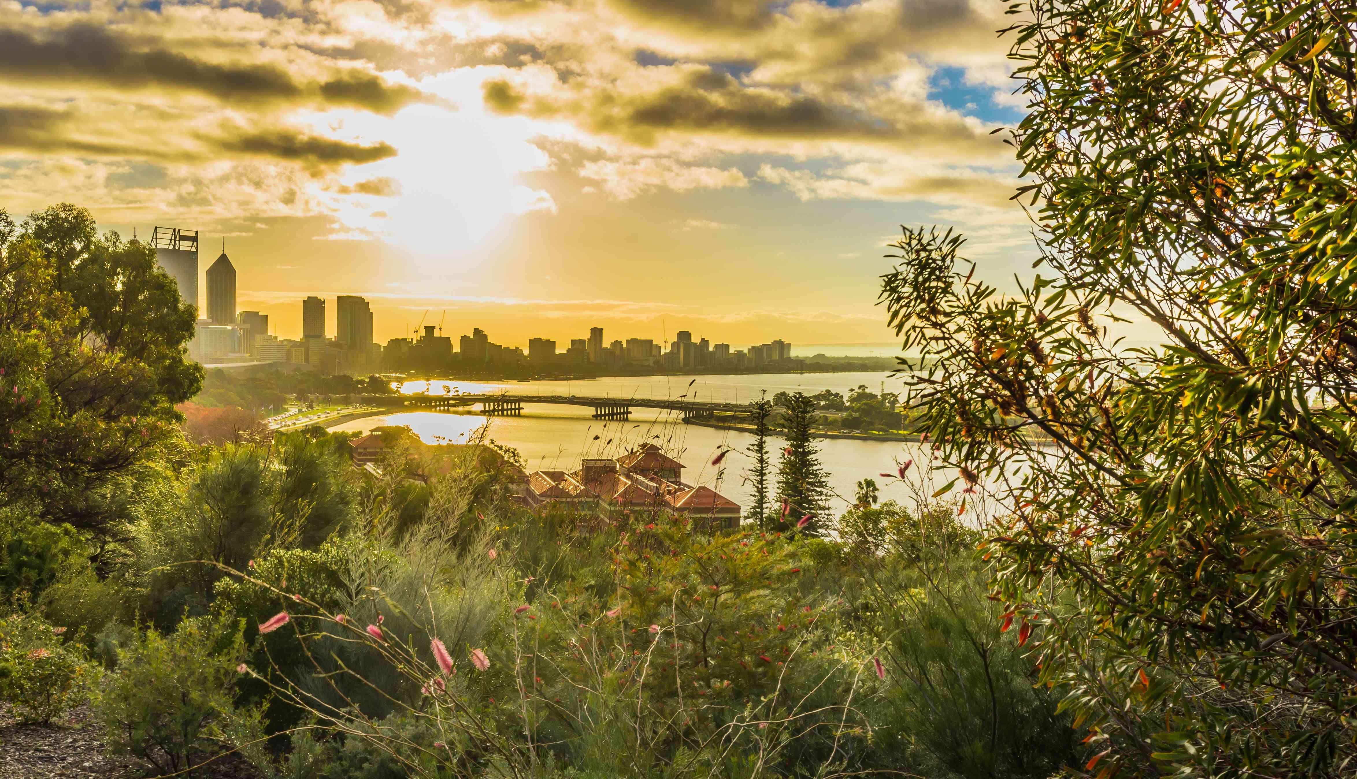 Sunrise of Perth City view at Mount Eliza, Western Australia, Australia