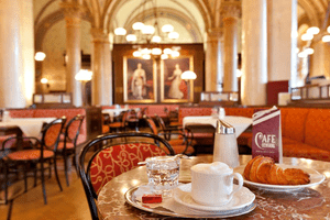 Pastry and coffee at Vienna's legendary Café Central