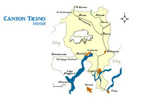 Map of Canton Ticino, Switzerland