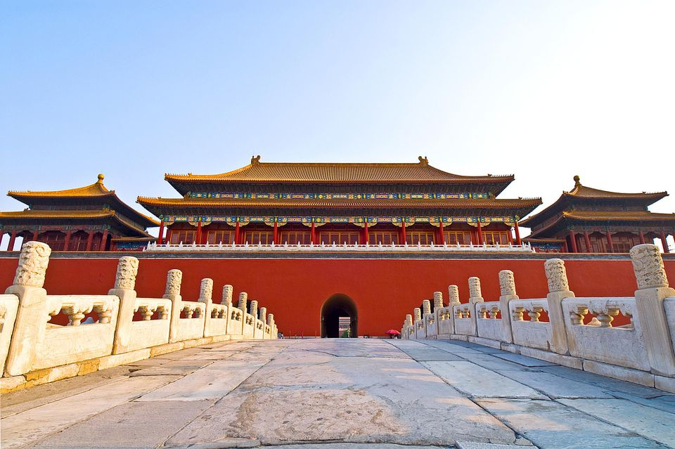 Low-angle view of the entrance to the Forbidden City in Beijing, China