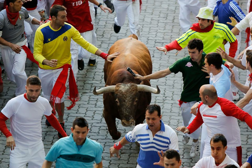 Bull running down street with people