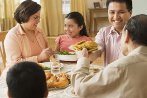 Latino family enjoying a holiday meal with tostones