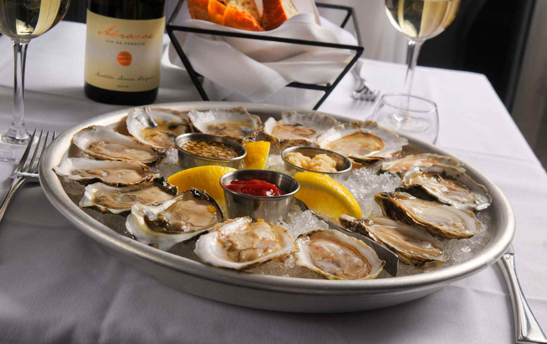 Oysters on a platter at Mare in Bostons north end