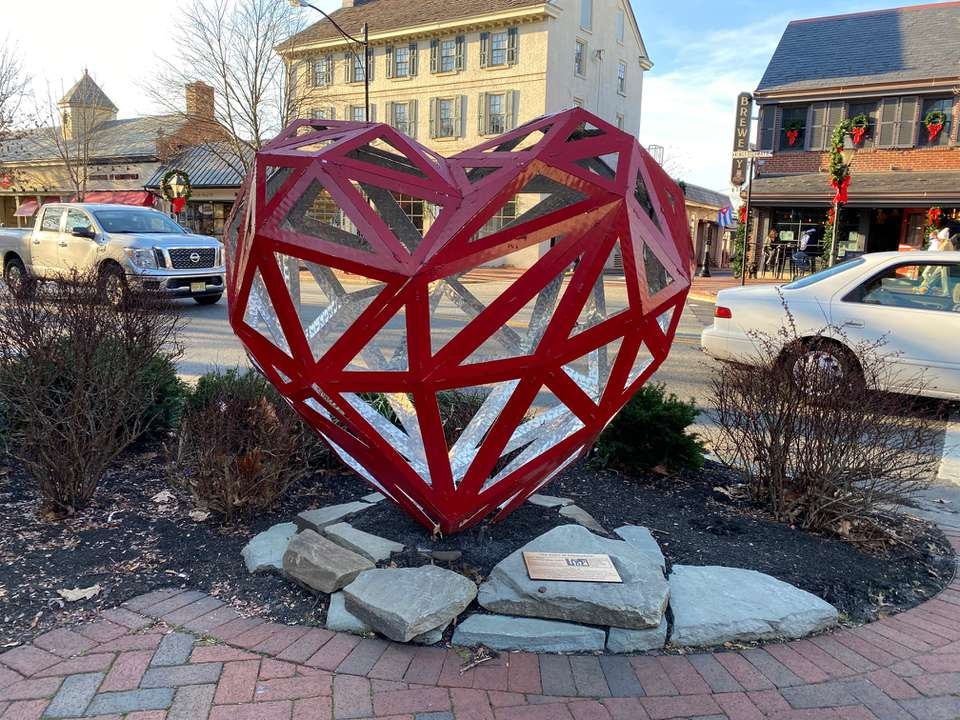 Heart-shaped art in Haddonfield, NJ