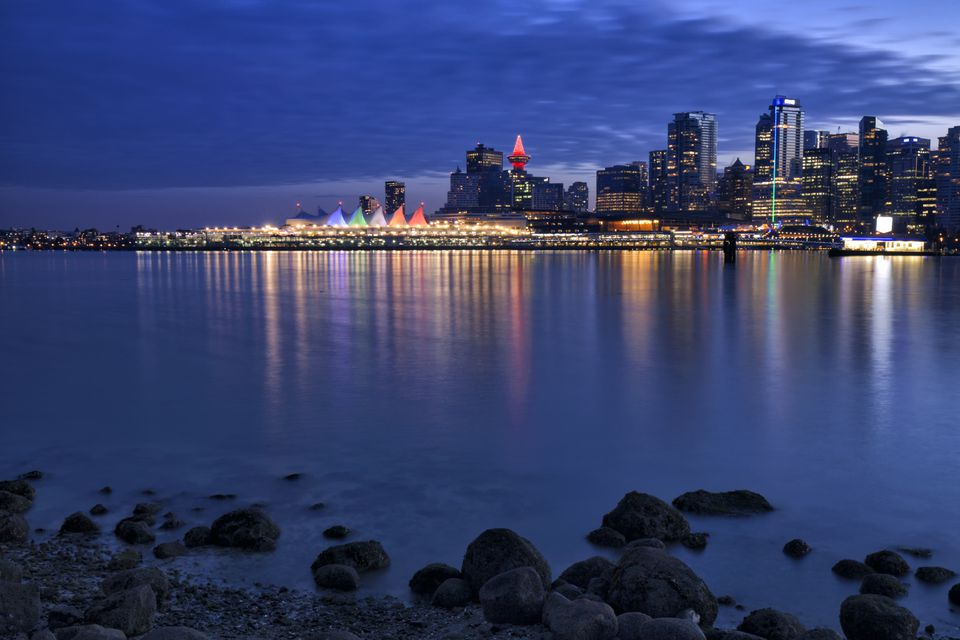 Vancouver skyline after sunset in Stanley park on a winter evening, long exposure at Christmas time.