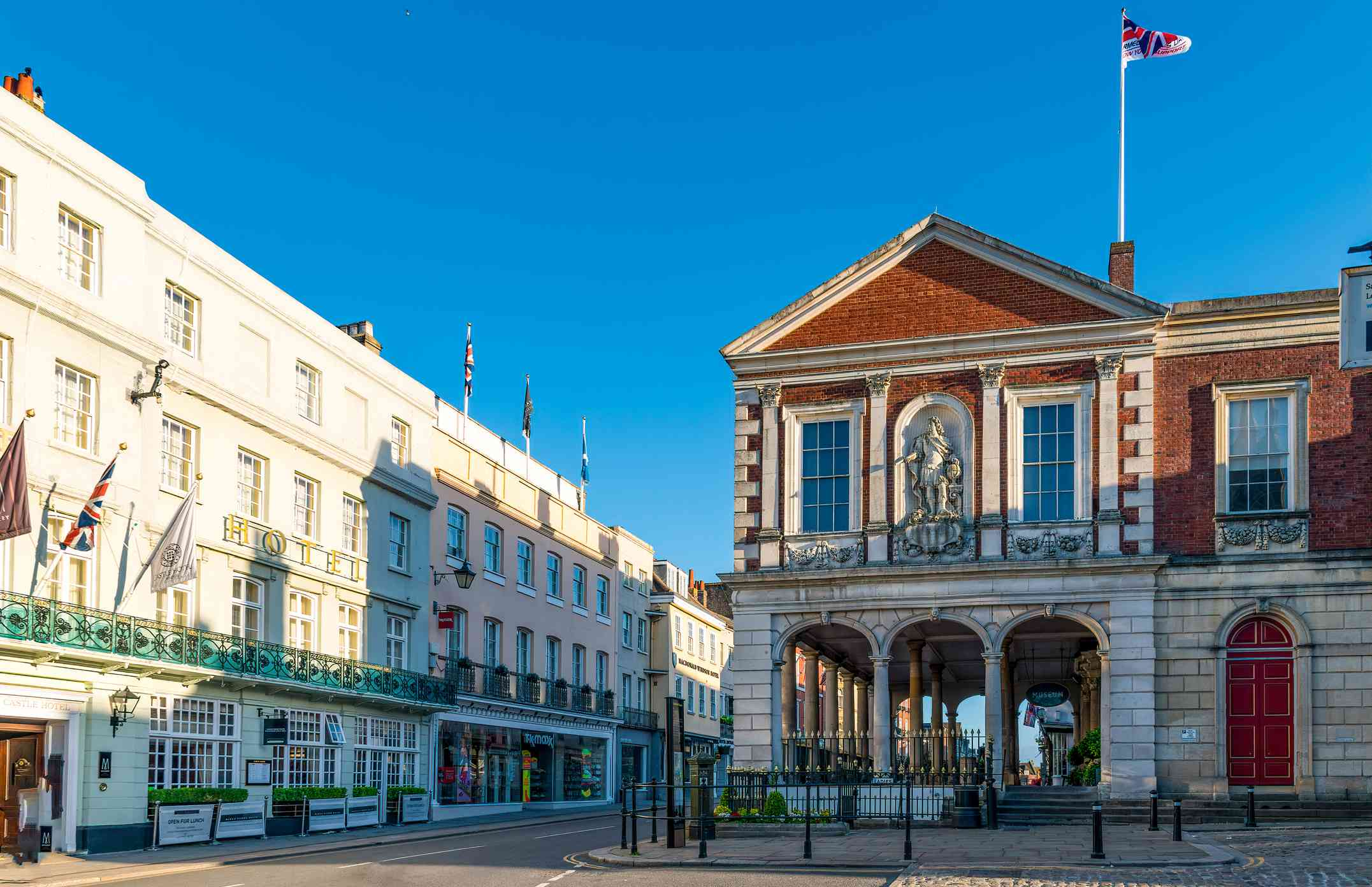 View of Windsor and Royal Borough Museum on a cloudless day