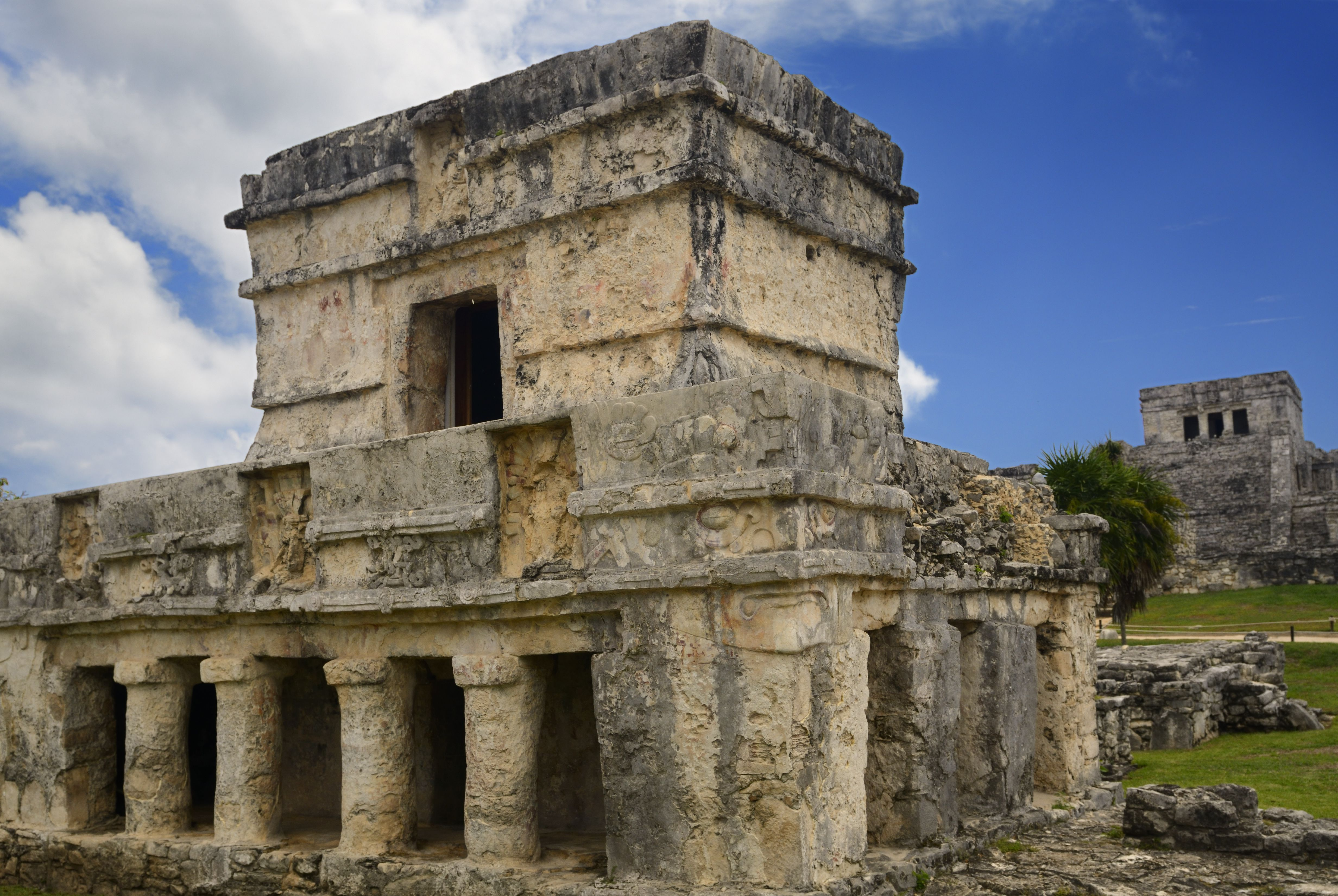 Temple of the Frescoes ruin with The Castle pyramid