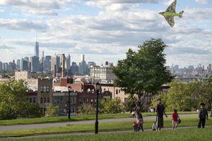 Children flying a kite in Sunset Park, Sunset Park neighborhood, New York City, USA