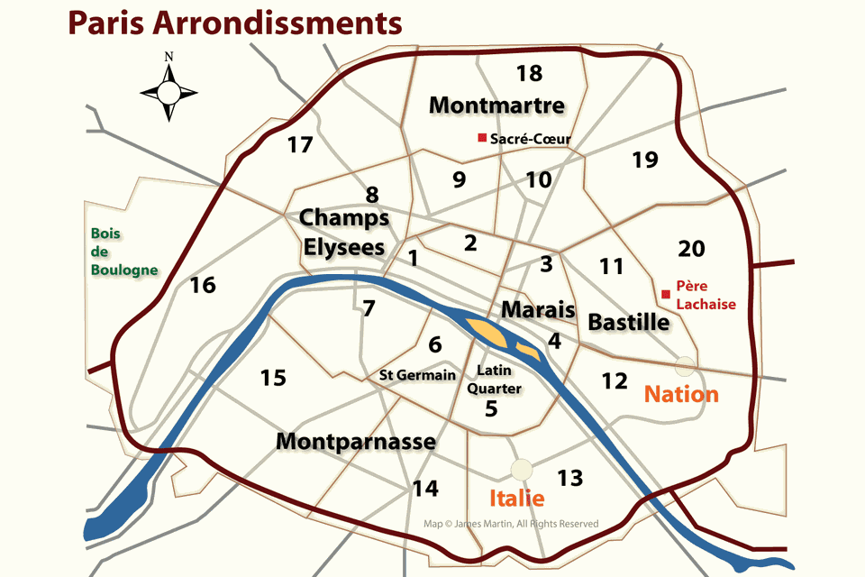 paris arrondissments map
