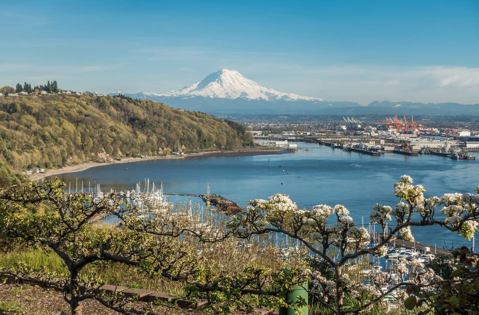 Scenic mountain view of Tacoma, Washington