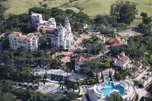 Aerial view of a castle on a hill, Hearst Castle, San Simeon, San Luis Obispo County, California, USA