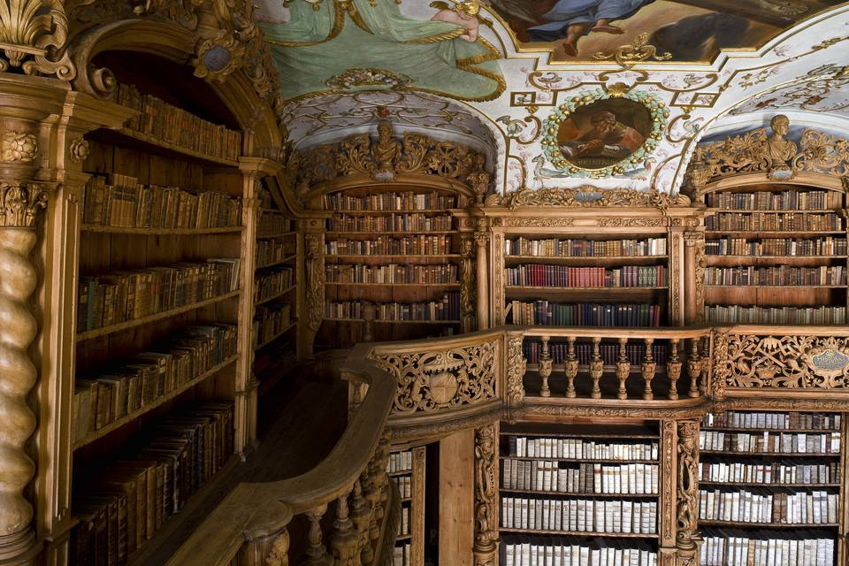 Library in the monastery of Waldsassen, Upper Palatinate, Bavaria, Germany