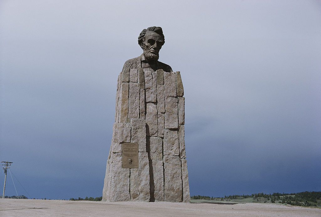 A giant bust of US President Abraham Lincoln at the Sherman Summit