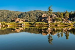 Reflection Of Trees On Big Bear Lake Against Sky