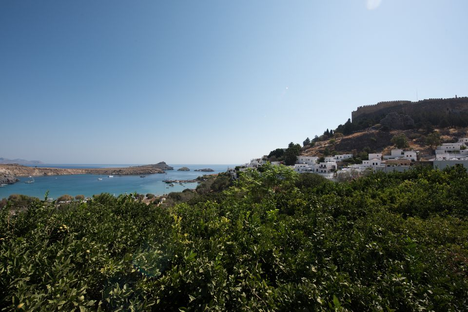 City of Lindos on the Greek Island of Rhodes during the day