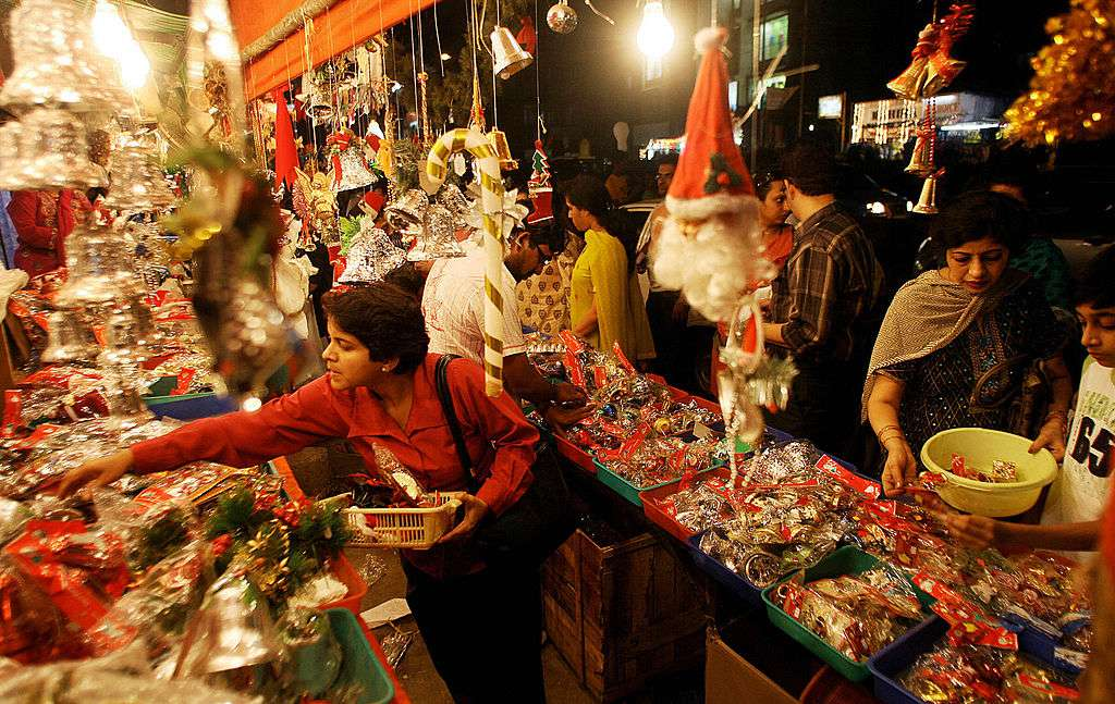 Indian people shop at a store ahead of Christmas in Mumbai,