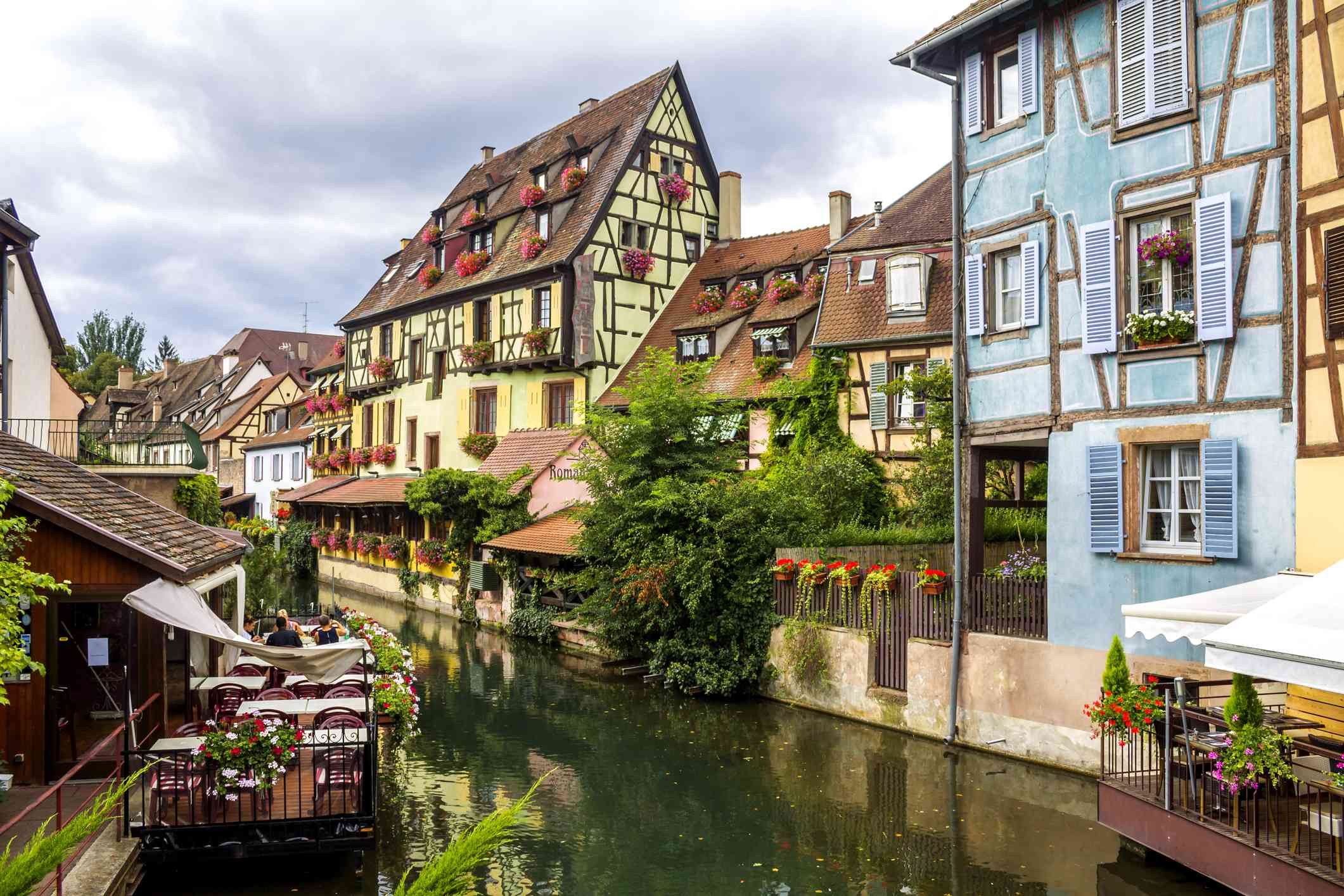 Half-timbered houses in Colmar, France, in the heart of Alsace.