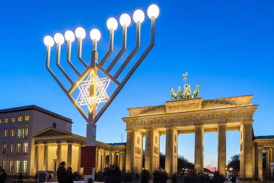 Berlin, Brandenburg gate with chanukkah lights at christmas