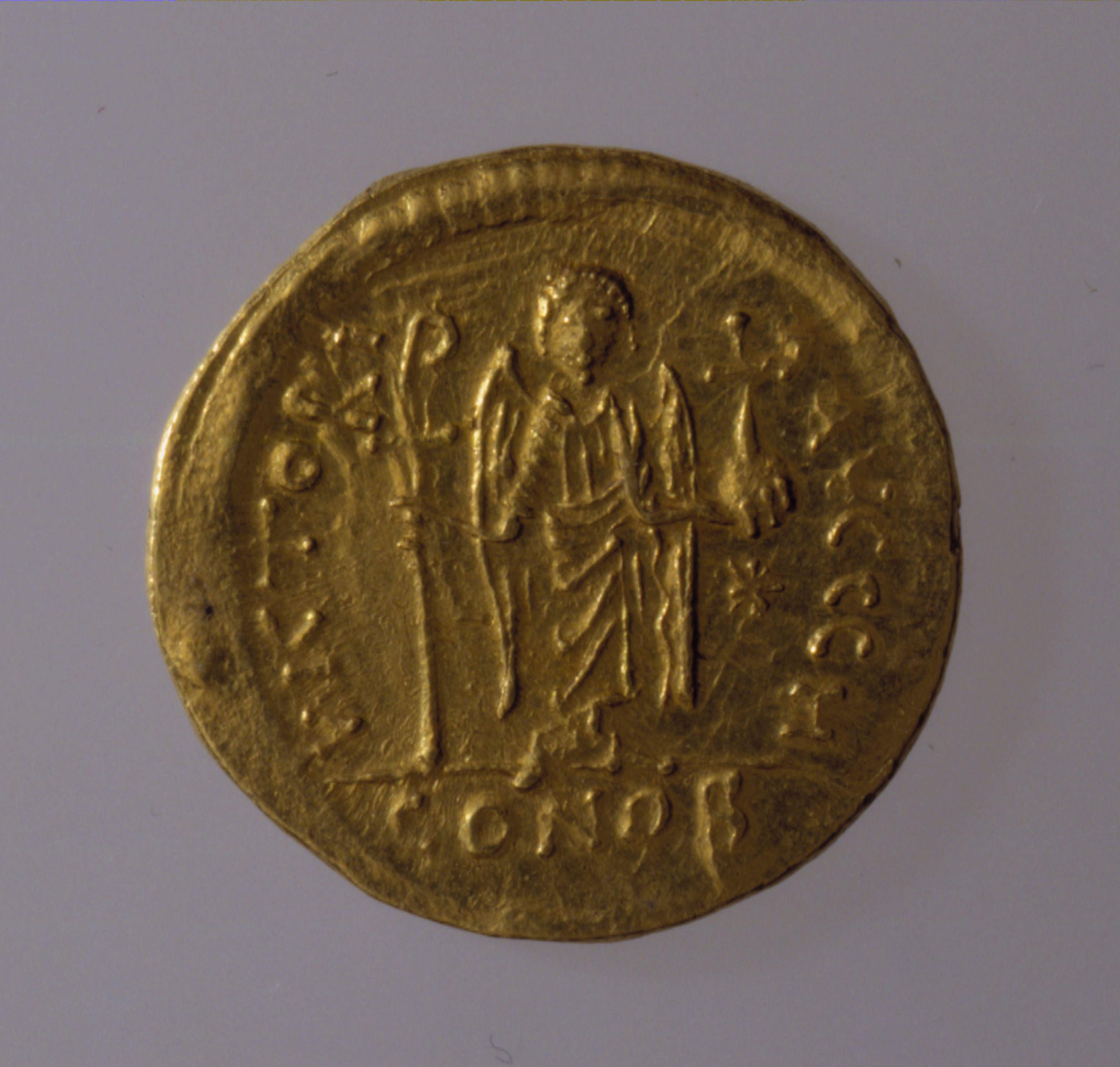 Sólido de Justiniano I, 527-565. Encontrado en la colección del Museo Benaki, Atenas . , Estadio Panatenaico