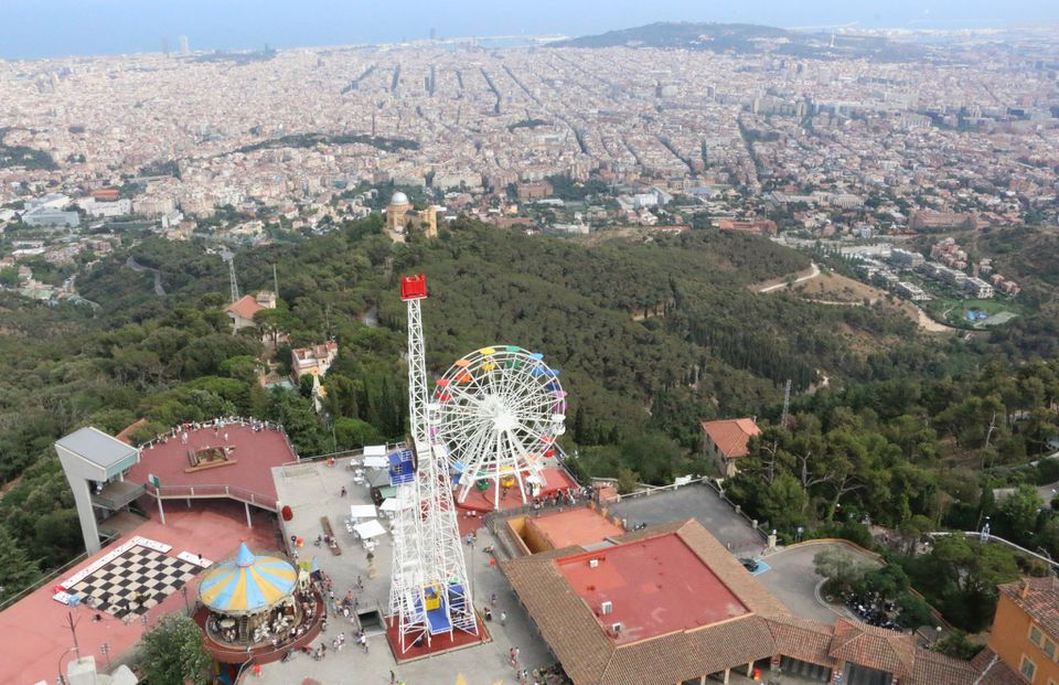Ariel shot of Barcelona from Mount Tibidabo