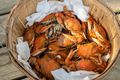 Basket full of steamed crabs