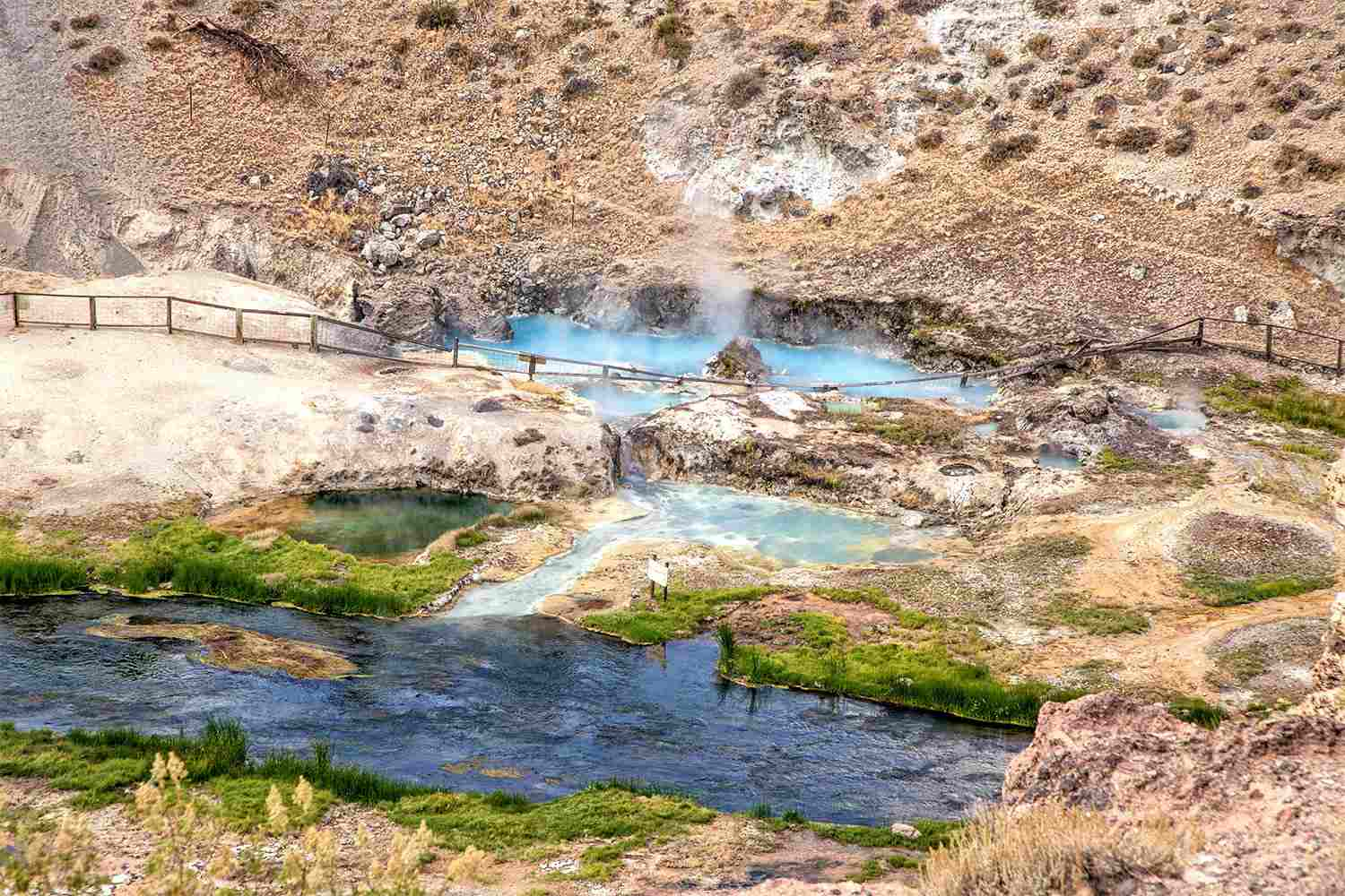 Steam coming off the hot springs at Hot Creek Gulch