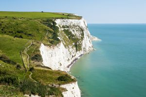 The Chalky White Cliffs of Dover in Kent, England